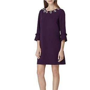 NWT Tahari Purple Embellished Bell Sleeve Dress